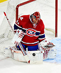 26 October 2009: Montreal Canadiens' goaltender Jaroslav Halak makes a second period save against the New York Islanders at the Bell Centre in Montreal, Quebec, Canada. The Canadiens defeated the Islanders 3-2 in sudden death overtime for their 4th consecutive win. Mandatory Credit: Ed Wolfstein Photo