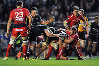 Leroy Houston of Bath Rugby is tackled to ground by Duane Vermeulen of Toulon. European Rugby Champions Cup match, between RC Toulon and Bath Rugby on January 10, 2016 at the Stade Mayol in Toulon, France. Photo by: Patrick Khachfe / Onside Images