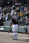 CHICAGO - OCTOBER 03:  A.J. Pierzynski #12 of the Chicago White Sox acknowledges the crowd during the game against the Cleveland Indians on October 03, 2010 at U.S. Cellular Field in Chicago, Illinois.  The White Sox defeated the Indians 6-5.  (Photo by Ron Vesely)