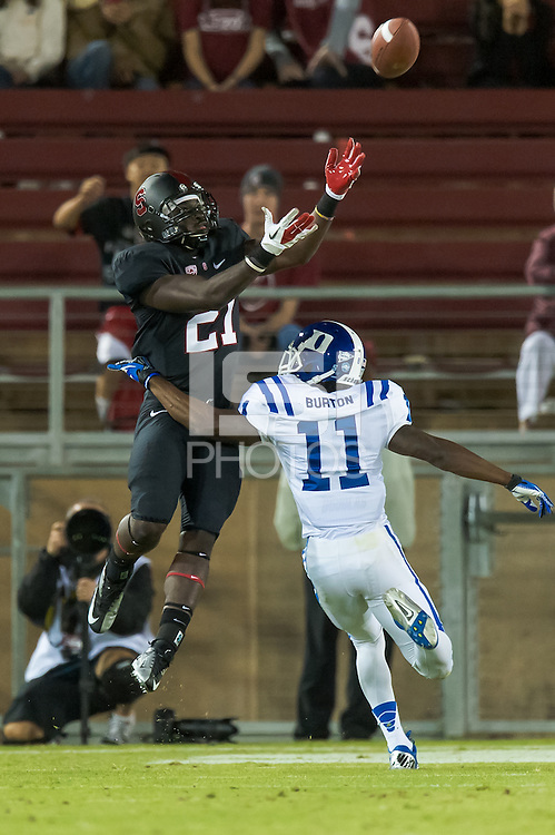 STANFORD, CA - SEPTEMBER 8, 2012: Jamal-Rashad Patterson catches a touchdown during the Stanford Cardinal 50 - 13 win over Duke.