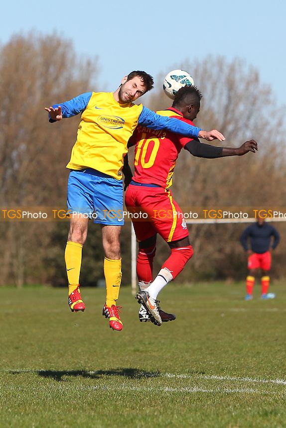 Niva-Unistream (yellow/blue) vs Black Meteors - Hackney & Leyton Sunday League Albert Daniels Cup Semi-Final Football at South Marsh, Hackney Marshes, London - 16/03/14 - MANDATORY CREDIT: Gavin Ellis/TGSPHOTO - Self billing applies where appropriate - 0845 094 6026 - contact@tgsphoto.co.uk - NO UNPAID USE