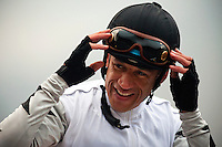 Jockey, David Flores after winning the San Marcos Stakes aboard Slim Shadey at Santa Anita Park in Arcadia California on February 11, 2012.