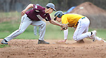 WATERBURY CT. 19 April 2017-041817SV09-#15 Adam Razza of Holy Cross High slides safe at 2nd as #5 George Cruz of Naugatuck High gets the late tag in the 3rd inning during NVL baseball action in Waterbury Wednesday.<br /> Steven Valenti Republican-American