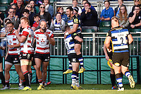 Jeff Williams of Bath Rugby is congratulated after scoring a try on his home debut. West Country Challenge Cup match, between Bath Rugby and Gloucester Rugby on September 26, 2015 at the Recreation Ground in Bath, England. Photo by: Patrick Khachfe / Onside Images