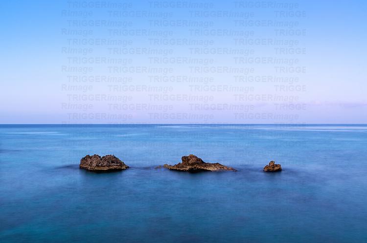 Volcanic rocks in the ocean, Negril, Jamaica
