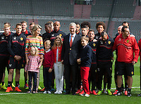 King Philippe of Belgium & family meets with National Belgian soccer team ' Diables Rouges '