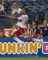 New York Red Bulls forward Juan Agudelo (17) attempts to control the ball. In a Major League Soccer (MLS) match, the New England Revolution tied New York Red Bulls, 2-2, at Gillette Stadium on August 20, 2011.