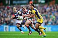 Jackson Willison of Worcester Warriors passes the ball. Aviva Premiership match, between Leicester Tigers and Worcester Warriors on October 8, 2016 at Welford Road in Leicester, England. Photo by: Patrick Khachfe / JMP