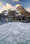 Cracked mud and glacier-tumbled rocks, Mt. Robson Provincial Park, British Columbia, Canada