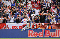 Juan Pablo Angel (9) of the New York Red Bulls celebrates scoring in the 75th minute. The New York Red Bulls defeated Juventus F. C. 3-1 during a friendly at Red Bull Arena in Harrison, NJ, on May 23, 2010.