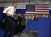 United States President Barack Obama arrives to speak on Energy and Gas prices at Prince George's Community College in Largo, MD, March 15, 2012..Credit: Martin Simon / Pool via CNP