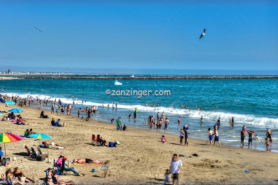 Seal Beach, CA, LA, Beach, Huntington Harbor Jetty, People Swimming, Sunbathing, Hotels,