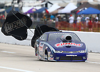 Apr 26, 2014; Baytown, TX, USA; NHRA pro stock driver Jason Line during qualifying for the Spring Nationals at Royal Purple Raceway. Mandatory Credit: Mark J. Rebilas-