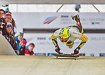 9 January 2016: Ander Mirambell, competing for Spain, pushes off for his first run start of the BMW IBSF World Cup Skeleton race at the Olympic Sports Track in Lake Placid, New York, USA. Mirambell ended the day with a combined 2-run time of 1:51.56 and an 18th place overall finish. Mandatory Credit: Ed Wolfstein Photo *** RAW (NEF) Image File Available ***