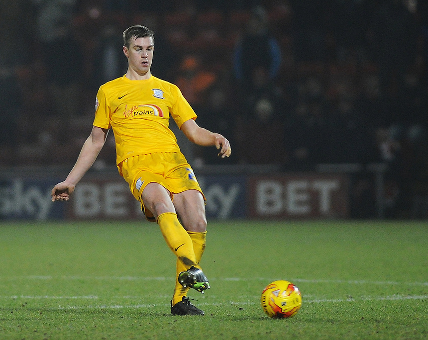 Preston North End's Paul Huntington in action during todays match  <br /> <br /> Photographer Kevin Barnes/CameraSport<br /> <br /> Football - The Football League Sky Bet League One - Crewe Alexandra v Preston North End - Sunday 28th December 2014 - Alexandra Stadium - Crewe<br /> <br /> &copy; CameraSport - 43 Linden Ave. Countesthorpe. Leicester. England. LE8 5PG - Tel: +44 (0) 116 277 4147 - admin@camerasport.com - www.camerasport.com
