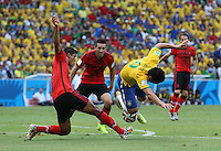 Brazil's fred takes a tumble in the penalty area