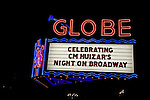 Neon sign marquee for the Globe Theater on Broadway in downtown Los Angeles