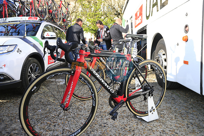 UAE Team Emirates Colnago C60 bikes lined up outside the team bus at sign on for the 115th edition of the Paris-Roubaix 2017 race running 257km Compiegne to Roubaix, France. 9th April 2017.<br /> Picture: Eoin Clarke   Cyclefile<br /> <br /> <br /> All photos usage must carry mandatory copyright credit (&copy; Cyclefile   Eoin Clarke)
