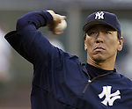 New York Yankees' Hideki Matsui warms up before their game against the Seattle Mariners in Seattle, Washington on Wednesday, 31 August, 2005. Jim Bryant Photo. ©2010. All Rights Reserved