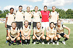 26 July 2009:  FC Gold Pride's starting lineup:  (front row)(L-R) Tiffeny Milbrett, Kristen Graczyk, Rachel Buehler, Tina DiMartino, Brandi Chastain; (back row)(L-R) Formiga, Christine Sinclair, Leslie Osborne, Leigh Ann Robinson, Nicole Barnhart, Carrie Dew.  Saint Louis Athletica tied the visiting FC Gold Pride 1-1 in a regular season Women's Professional Soccer game at Anheuser-Busch Soccer Park, in Fenton, MO.