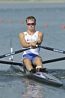 Brest, Belarus.  GBR BM1X, Peter CHAMBERS, at the start.  2010. FISA U23 Championships. Thursday,  22/07/2010.  [Mandatory Credit Peter Spurrier/ Intersport Images]