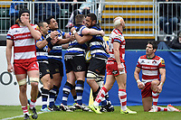 Taulupe Faletau of Bath Rugby celebrates scoring a try with team-mates. Aviva Premiership match, between Bath Rugby and Gloucester Rugby on April 30, 2017 at the Recreation Ground in Bath, England. Photo by: Patrick Khachfe / Onside Images