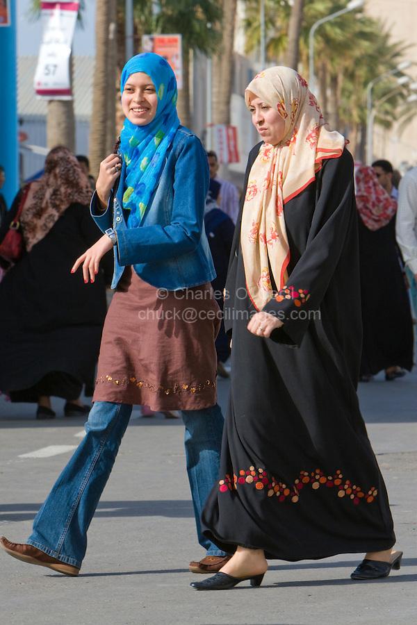Tripoli, Libya, North Africa - Libyan Women at International Trade Fair.  Clothing Styles.