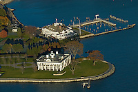 Connecticut, Greenwich, aerial shoreline, mansion