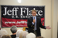 Apache Junction, Arizona. October 19, 2012 - Arizona Congressman Jeff Flake answers questions during a Town Hall at the Mountain View Lutheran Church in Apache Junction, Arizona. Flake is running for the senate seat Senator Jon Kyl is leaving as he retires. About 100 citizens were in attendance. Photo by Eduardo Barraza © 2012