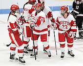 Kathryn Miller (BU - 4), Isabel Menard (BU - 20), Sarah Bayersdorfer (BU - 23) - The Boston University Terriers defeated the visiting Union College Dutchwomen 6-2 on Saturday, December 13, 2012, at Walter Brown Arena in Boston, Massachusetts.