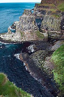 Rathlin Island, Northern Ireland, United Kingdom, May 2011. Rathlin Island with about 100 inhabitants, lying off Antrim's Causeway Coast, boasts Northern Ireland's largest seabird colony and panoramic coastal views. It has a rare, untamed beauty of green hills covered in yellow gorse and dark rising cliffs . The wildlife is evident before you step ashore: seals, guillemot, razorbill, kittiwake and puffins are a common sight.The RSPB recently opened a Seabird Centre for visitors on the island. For decades travellers stayed away from the sectarian violence, but since the end of'The Troubles' more and more people start discoving the beauty of Belfast and the Antrim Coast Causeway. Photo by Frits Meyst/Adventure4ever.com