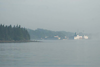 T/V State of Maine and Castine Harbor in the Fog, Castine, Maine, US