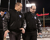 Matt Curley (Bentley - Assistant Coach), Ryan Soderquist (Bentley - Head Coach), Ben Murphy (Bentley - Assistant Coach) - The Bentley University Falcons defeated the College of the Holy Cross Crusaders 3-2 on Saturday, December 28, 2013, at Fenway Park in Boston, Massachusetts.