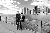Partners in a tech startup photographed on the Brooklyn waterfront.