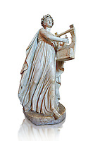 Roman ststue of Apollo with a lyre, copied from an earlier 4th cebtury BC Hellenistic statue, from a group of Muses found in Villa de Cassius at Tivoli,  inv 310, Vatican Museum Rome, Italy,  white background