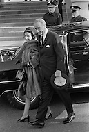 31 Mar 1969, Washington, DC, USA --- Lady Bird Johnson and former United States President Lyndon B. Johnson leaving the White House to attend the funeral of United States President Dwight Eisenhower on March 31, 1969. A funeral service took place later at the National Cathedral in Washinton, DC. --- Image by © JP Laffont/Sygma/CORBIS