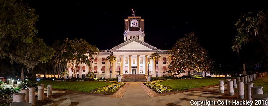 TALLAHASSEE, FLA. 4/8/16-The Florida Historic Capitol, foreground and Capitol buildings. <br /> <br /> EDITOR'S NOTE: This image is comprised of multiple photos taken at the same moment and stitched together in photoshop to create a panorama.<br /> <br /> COLIN HACKLEY PHOTO