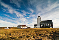 Obrestad lighthouse at Jæren, Rogaland, Norway.