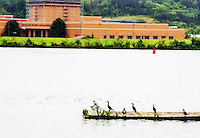Washington D.C. - October 1, 2016: Dock on the Anacostia looking towards Anacostia Park. Buzzards Point area in Southwest Washington D.C. cleared for construction of the new soccer stadium for D.C. United scheduled to open in 2018.