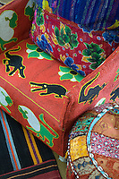 Detail of a colourful African bead chair