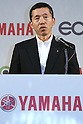 July 14, 2010 - Tokyo, Japan - Japan's Yamaha Motor Executive Officer Masanori Kobayashi delivers a speech during a press-conference for the company's new electric commuter vehicle EC-03 unveiled in Tokyo, Japan, on July 14, 2010. Yamaha Motor will begin selling from September 1 in the Tokyo area and nationwide from October 1, then will introduce the EC-03 in the markets of Taiwan and Europe in 2011.