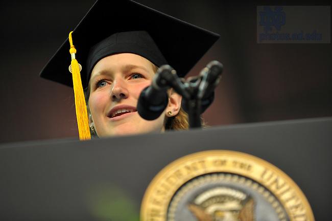 Commencement 2009.  Brennan Bollman delivers the valedictorian address...Photo by Matt Cashore/University of Notre Dame