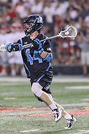 College Park, MD - April 29, 2017: Johns Hopkins Blue Jays John Crawley (44) looks to pass the ball during game between John Hopkins and Maryland at  Capital One Field at Maryland Stadium in College Park, MD.  (Photo by Elliott Brown/Media Images International)