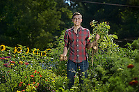 NWA Democrat-Gazette/BEN GOFF @NWABENGOFF<br /> Luke Freeman poses for a photo on Saturday June 25, 2016 in his favorite personal space, his garden at his home in Fayetteville.