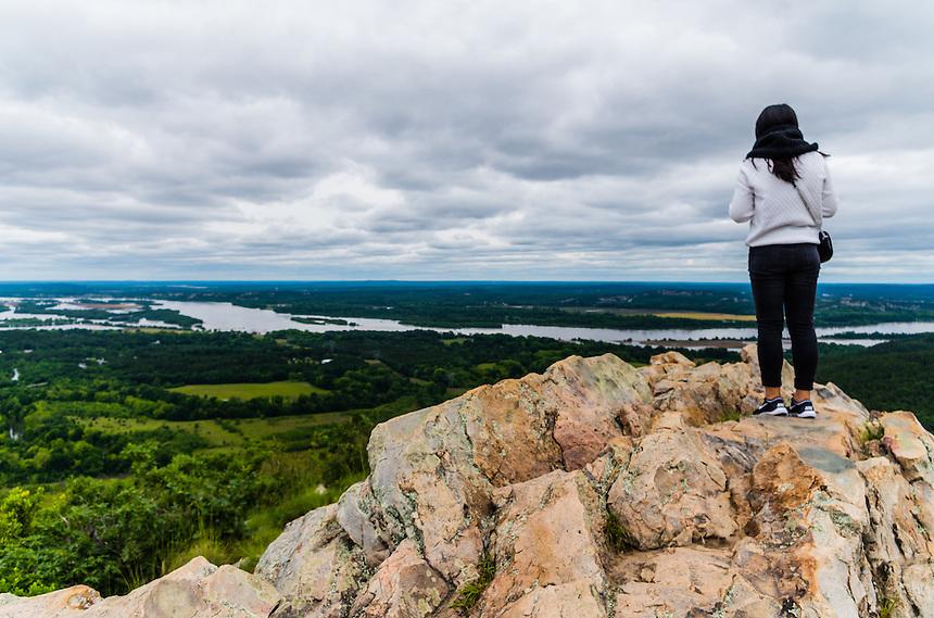 Young woman on top of Petit Jean Mountain, Petit Jean State Park, Arkansas