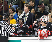 Bob Bernard, Josh Manson (NU - 3), Patrick Foley (NU - Assistant Coach), Derick Roy (NU - 1) - The Boston College Eagles defeated the Northeastern University Huskies 6-3 on Monday, February 11, 2013, at TD Garden in Boston, Massachusetts.