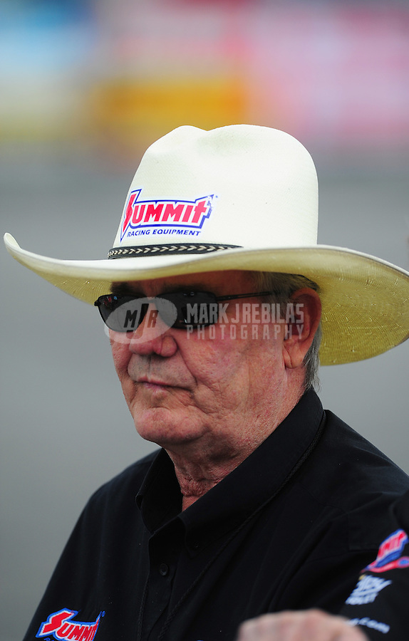Nov. 10, 2011; Pomona, CA, USA; NHRA pro stock team owner Ken Black during qualifying at the Auto Club Finals at Auto Club Raceway at Pomona. Mandatory Credit: Mark J. Rebilas-.