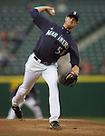 Seattle Mariners'  starter Doug Fister pitches against the Baltimore Orioles  at SAFECO Field in Seattle April 19, 2010. The  Mariners beat the Orioles 8-2. Jim Bryant Photo. &copy;2010. ALL RIGHTS RESERVED.