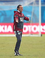 Italy coach Cesare Prandelli gestures during training ahead of tomorrow's Group D match vs Uruguay