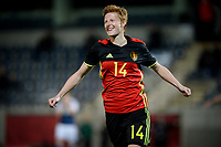 20170411 - LEUVEN ,  BELGIUM : Belgian Lien Mermas pictured celebrating her goal and the Belgian 2-0 lead during the friendly female soccer game between the Belgian Red Flames and Scotland , a friendly game in the preparation for the European Championship in The Netherlands 2017  , Tuesday 11 th April 2017 at Stadion Den Dreef  in Leuven , Belgium. PHOTO SPORTPIX.BE   DAVID CATRY
